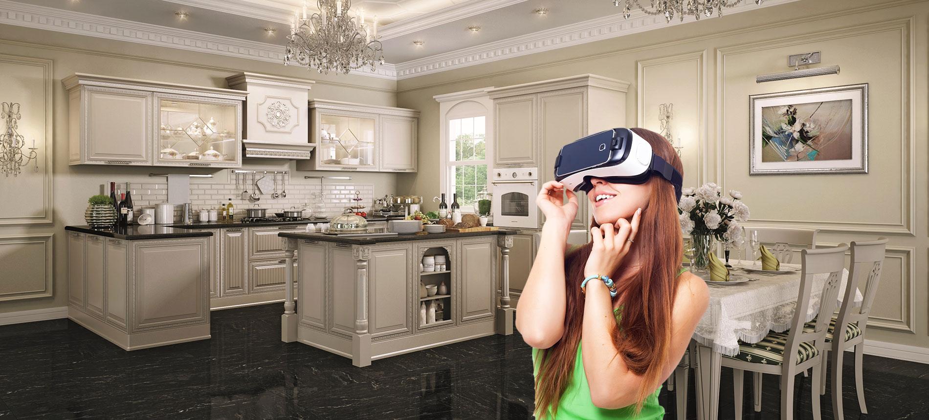 Девушка в vr-очках на кухне Про-Мобили