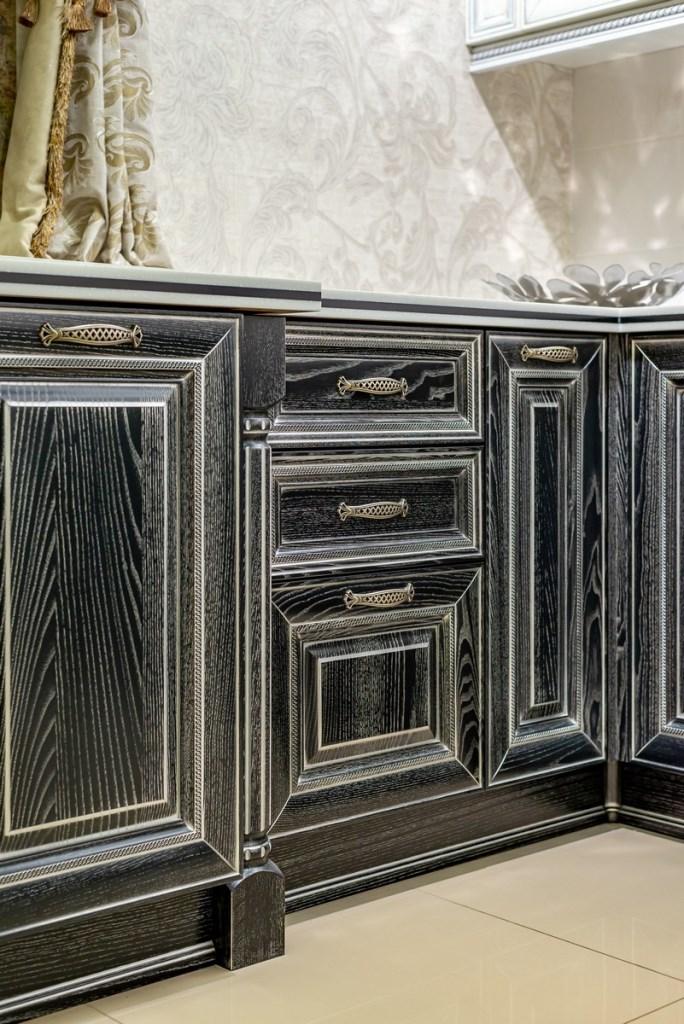 Кухонный гарнитур Гальяно - ящики черные